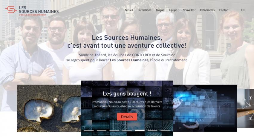 Home page of Les Sources Humaines website